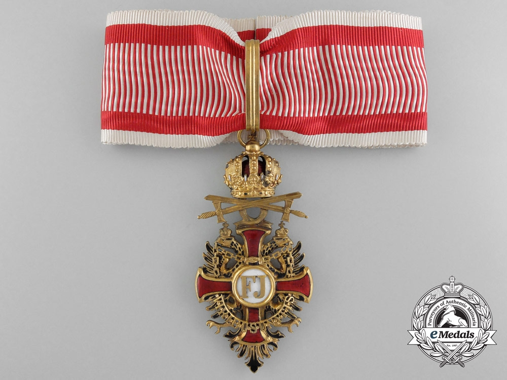 eMedals-A Rare Imperial Austrian Franz Joseph Order with Swords, Commander's Badge by V. Mayer 1917
