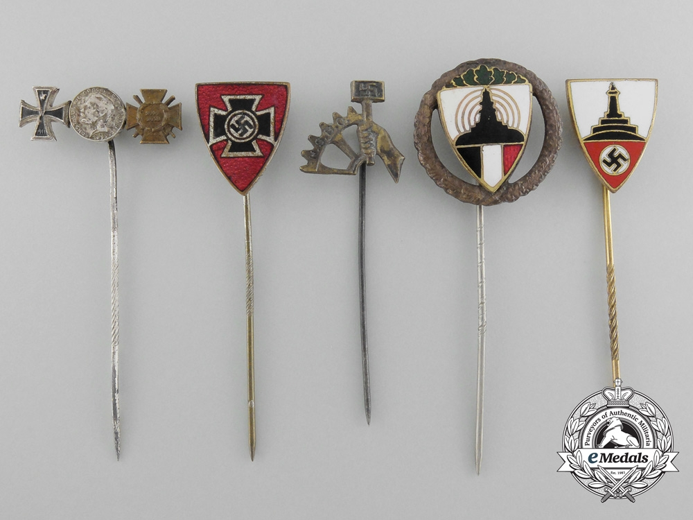 eMedals-A Lot of Five German Stick Pins and Awards