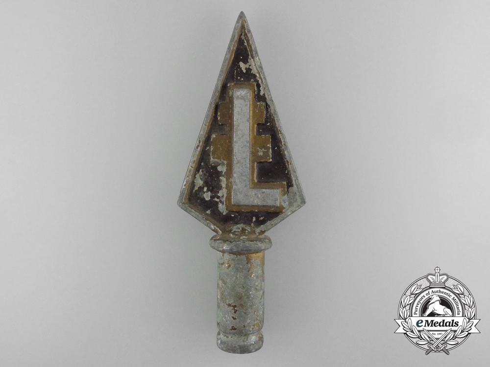 eMedals-A 1930's Hungarian Levante Organization Flag Pole Topper