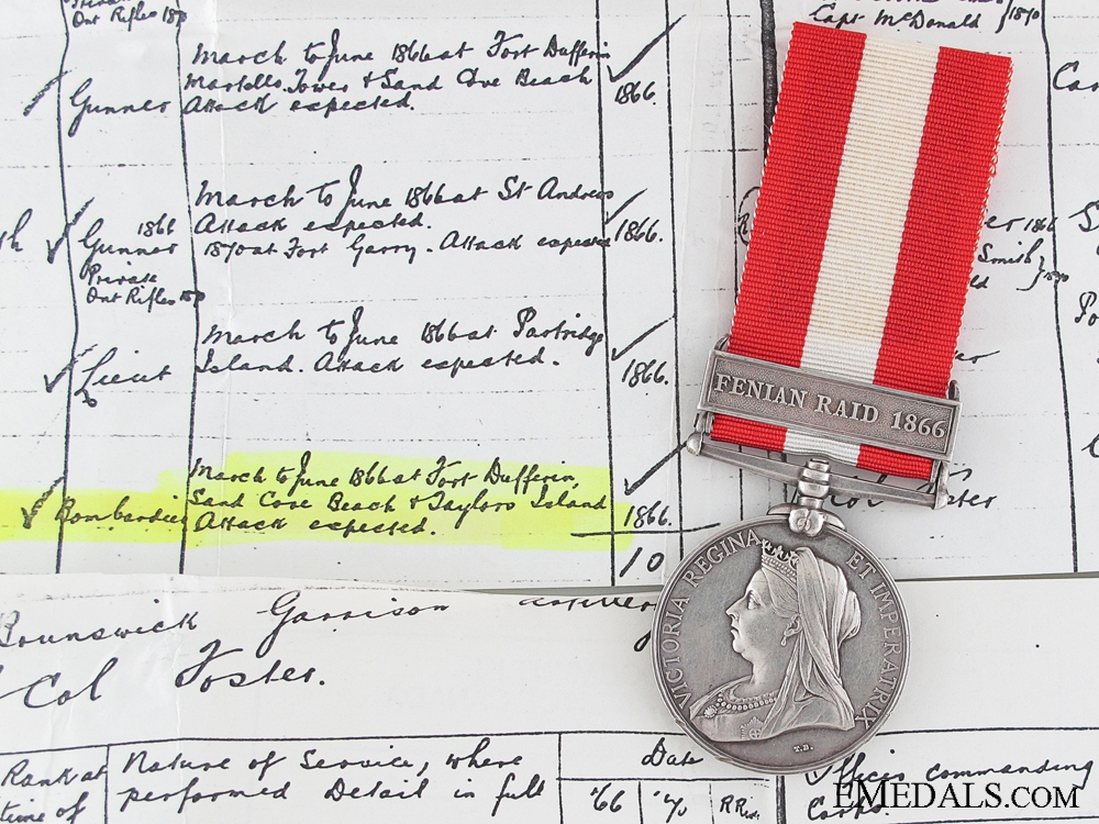 eMedals-Canada General Service Medal to the New Brunswick Garrison Artillery