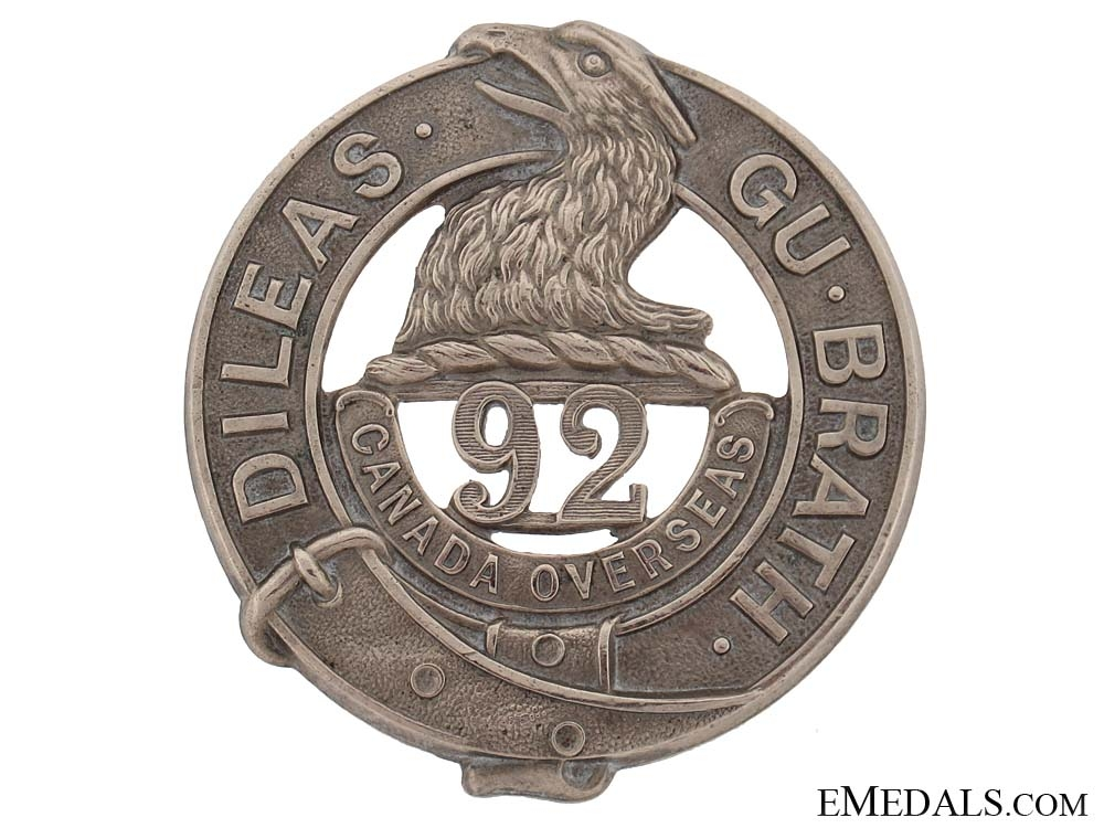 "eMedals-WWI 92nd Infantry Battalion ""48th Highlanders"" Glengarry Badge"