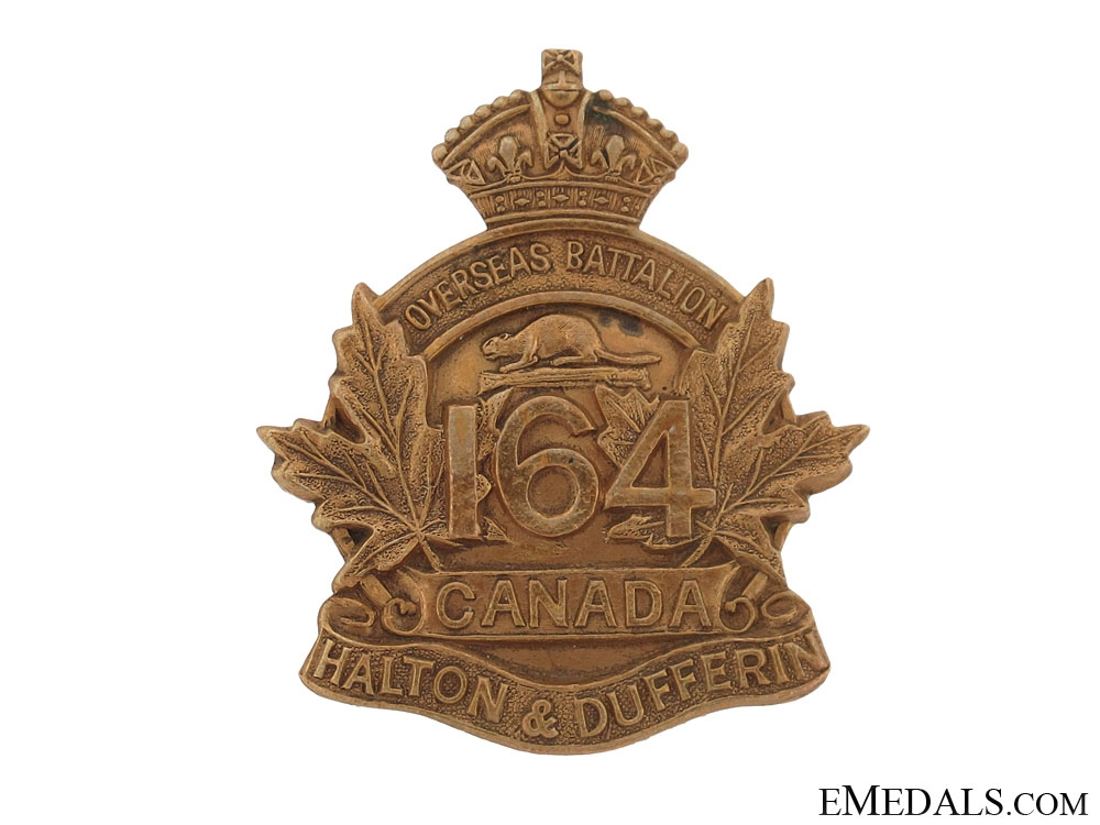 "eMedals-WWI 164th Infantry Battalion ""Halton and Dufferin Battalion"" Cap Badge"