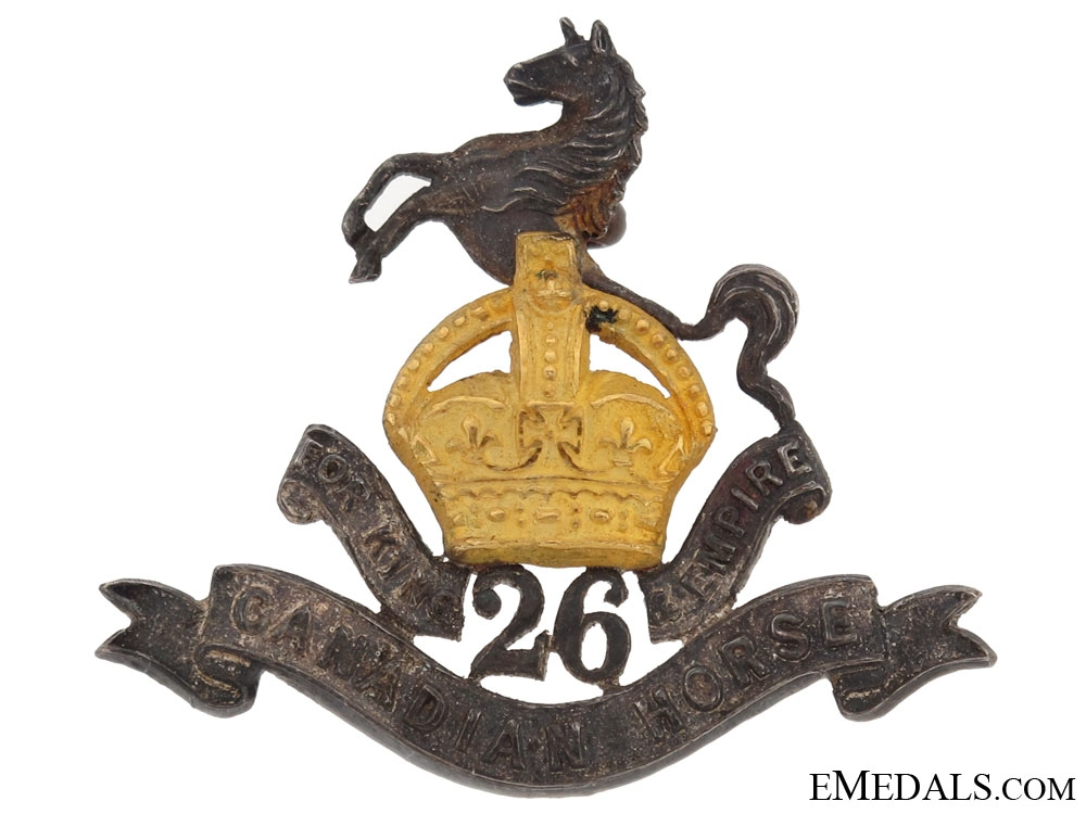 eMedals-26th Canadian Horse (Stanstead Dragoons) Officer's Collar Badge