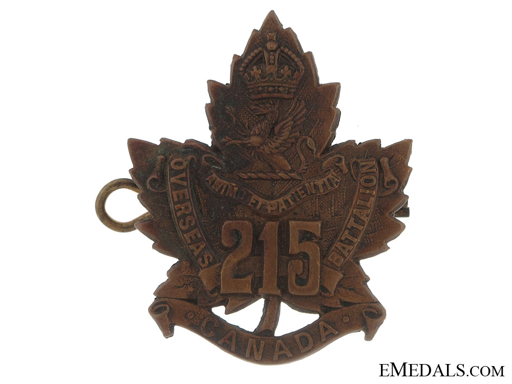 eMedals-215th Battalion (Brantford, Ontario) Cap Badge