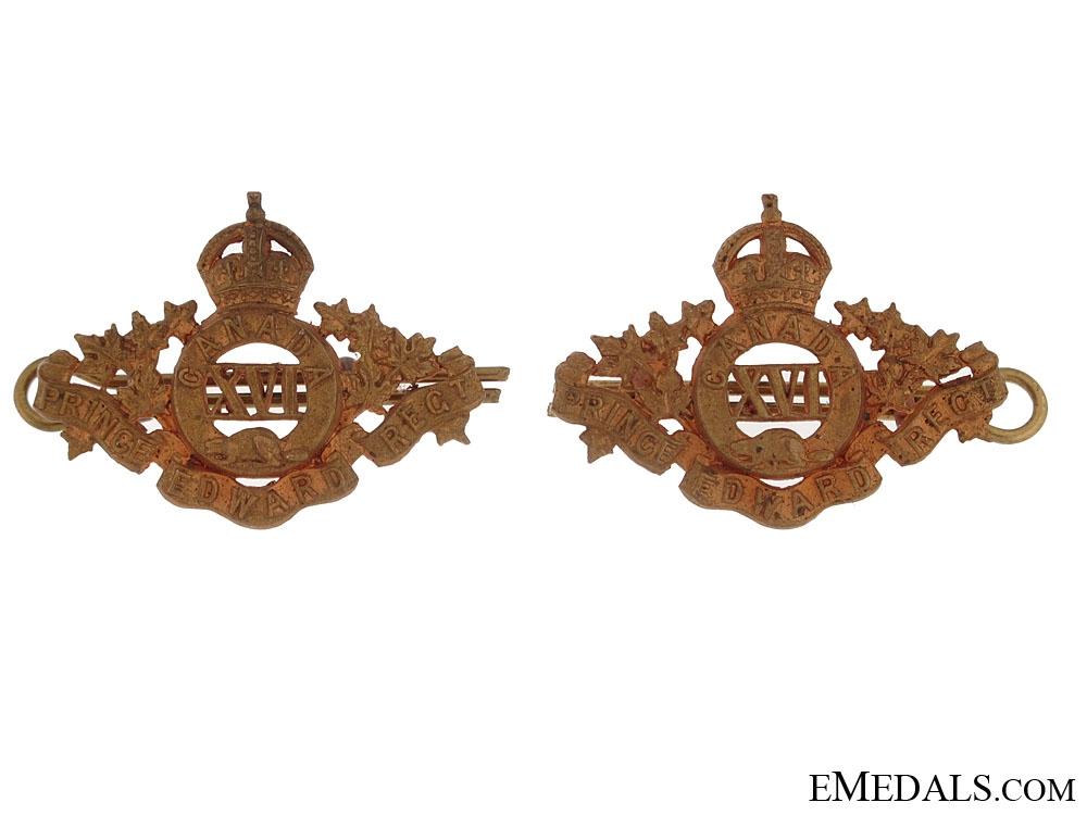 eMedals-16th Prince Edward Regiment Collar Badges