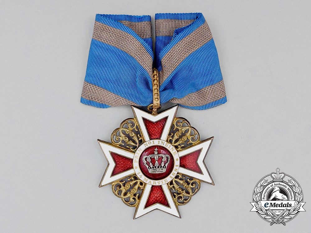 eMedals-A Romanian Order of the Crown, Commander's Neck Badge, Type I (1881-1932), Civil