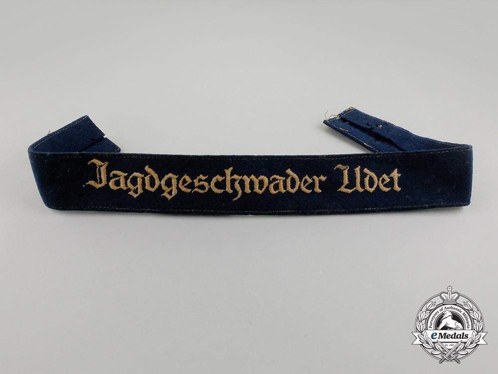 eMedals-A Second War German Luftwaffe Jagdgeschwader Udet Cuff Title; Uniform Removed