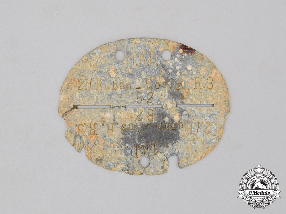 eMedals-A Second War Wehrmacht Cossack Division Identification Tag