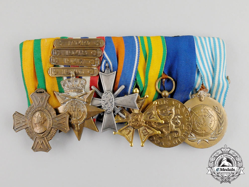 eMedals-Netherlands, Kingdom. A Second War, Indonesian Conflict and Korean War Medal Bar