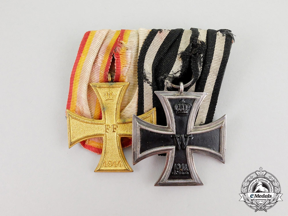 eMedals-A Frack Mounted 1914 Mecklenburg War Merit Cross Medal Bar