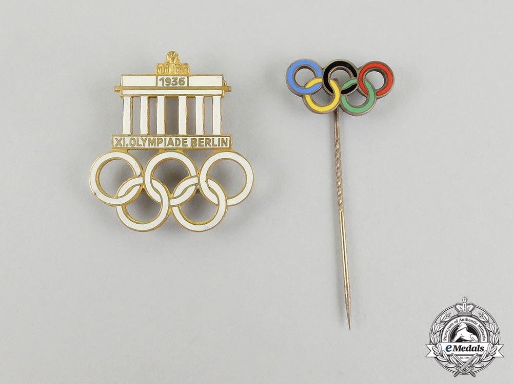 eMedals-Two 1936 Berlin Olympic Games Event Badges and Stick Pins