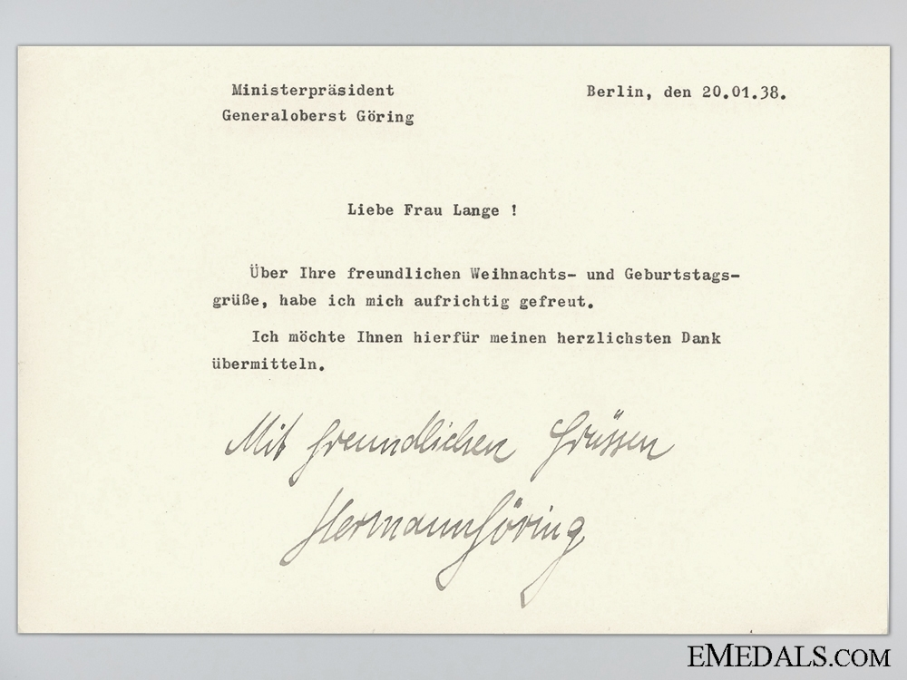 eMedals-Christmas and Birthday Greetings Letter Signed Hermann Göring