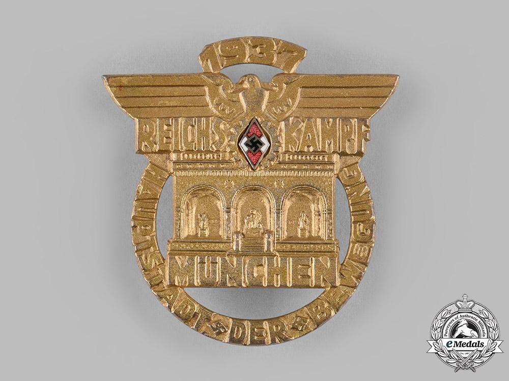 eMedals-Germany, HJ. A 1937 Reichskampf Munich Participation Badge by Ferdinand Hoffstätter