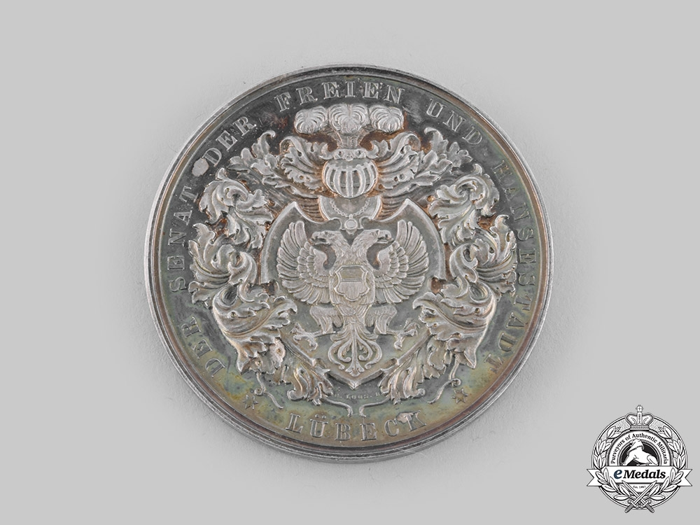 eMedals-Lübeck, Free City. A Silver Table Medal for Loyal Service, c.1905