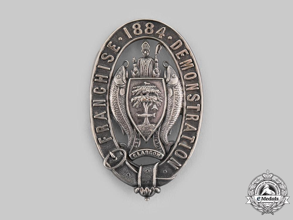 eMedals-United Kingdom. The Glasgow Franchise Demonstration of September 1884 Badge