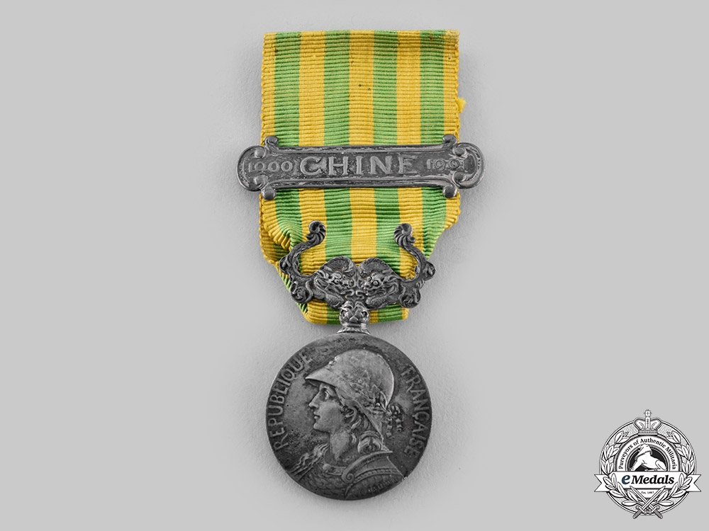 eMedals-France, III Republic. A 1900-1901 China Medal with Clasp, c.1885