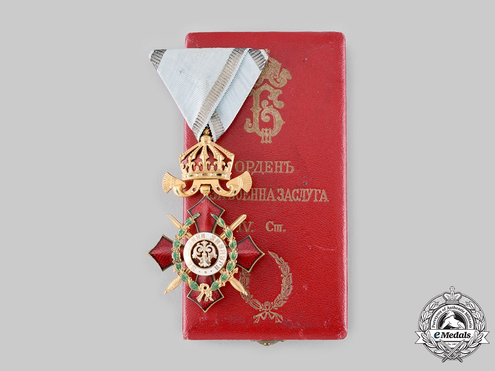eMedals-Bulgaria, Kingdom. An Order of Military Merit, V Class with War Decoration Case, c. 1918