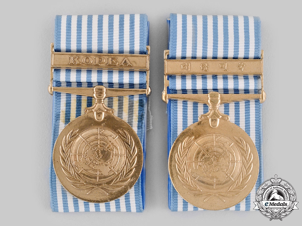 eMedals-United Nations. Two United Nations Service Medals for Korea, Greek and Korean Versions