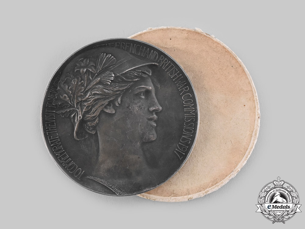 eMedals-United States. A French & British War Commission Medal 1917, Silver Grade, Rare