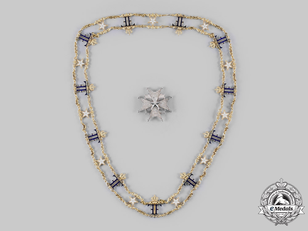 eMedals-Sweden, Kingdom. An Order of the North Star, Commander Grand Cross Collar Chain & Star, c.1890