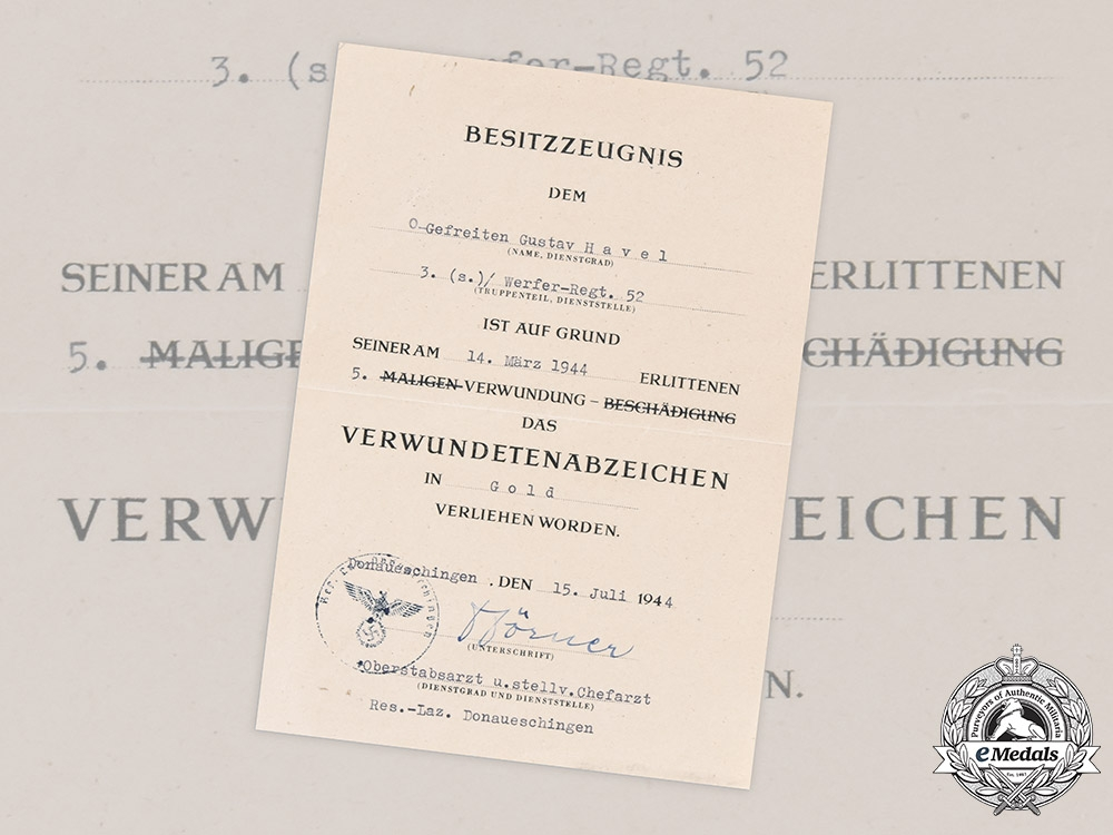 eMedals-Germany, Heer. A Gold Grade Wound Badge Award Document to Private Gustav Havel