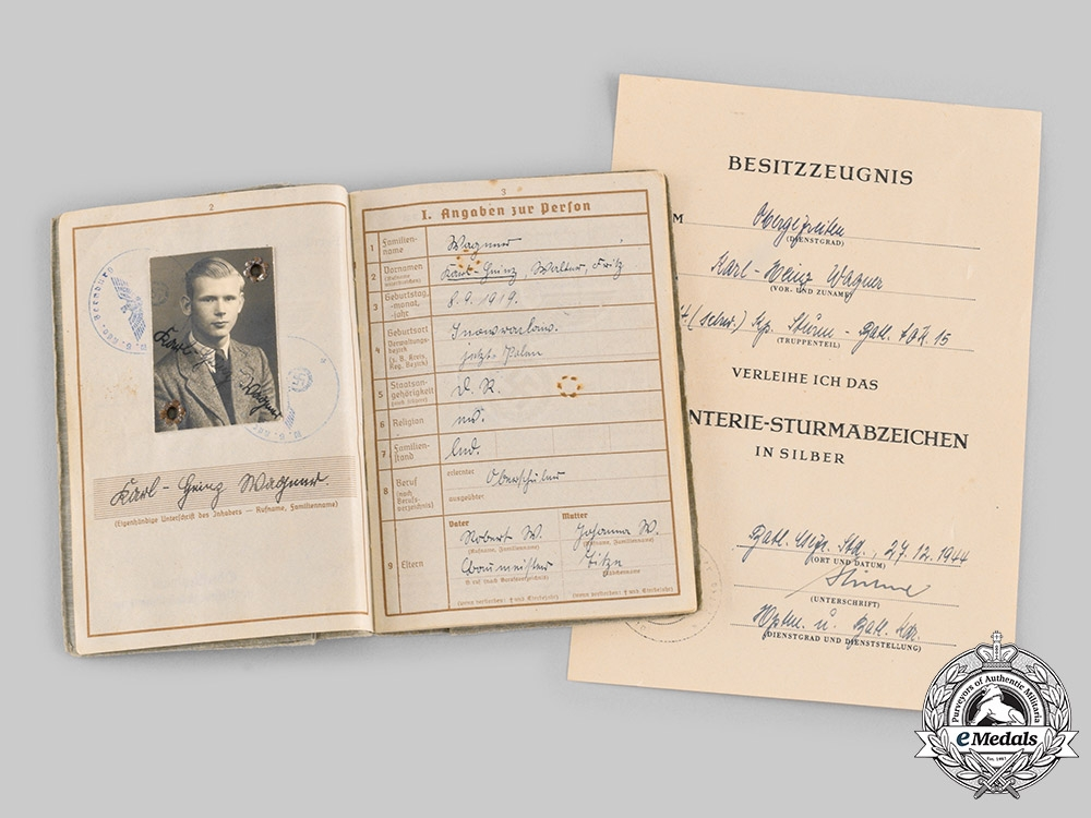 eMedals-Germany, Heer. A Wehrpass & Award Documents to Obergefreiter Karl-Heinz Wagner