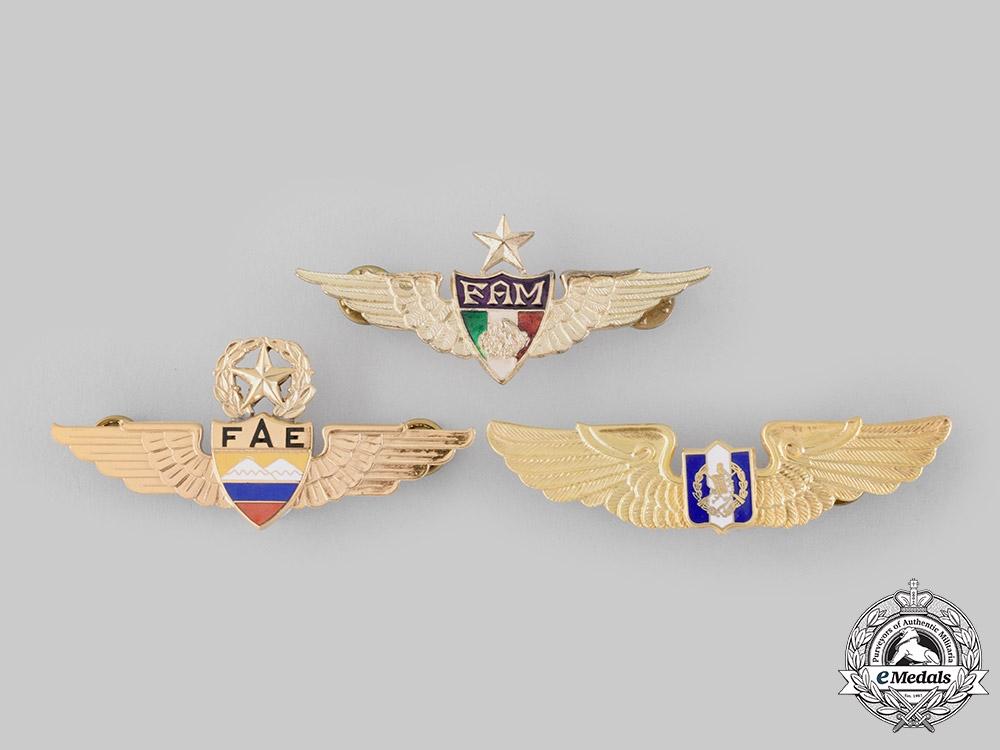 eMedals-Ecuador, Republic; Guatemala, Republic; Mexico, Republic. Three Pilot Badges