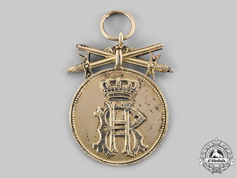 eMedals-Reuss, Principality. A Golden Merit Medal of the Princely Honour Cross, with Swords