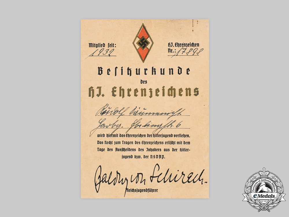 eMedals-Germany, HJ. An Award Document for a HJ Honour Badge to Rudolf Säumenicht