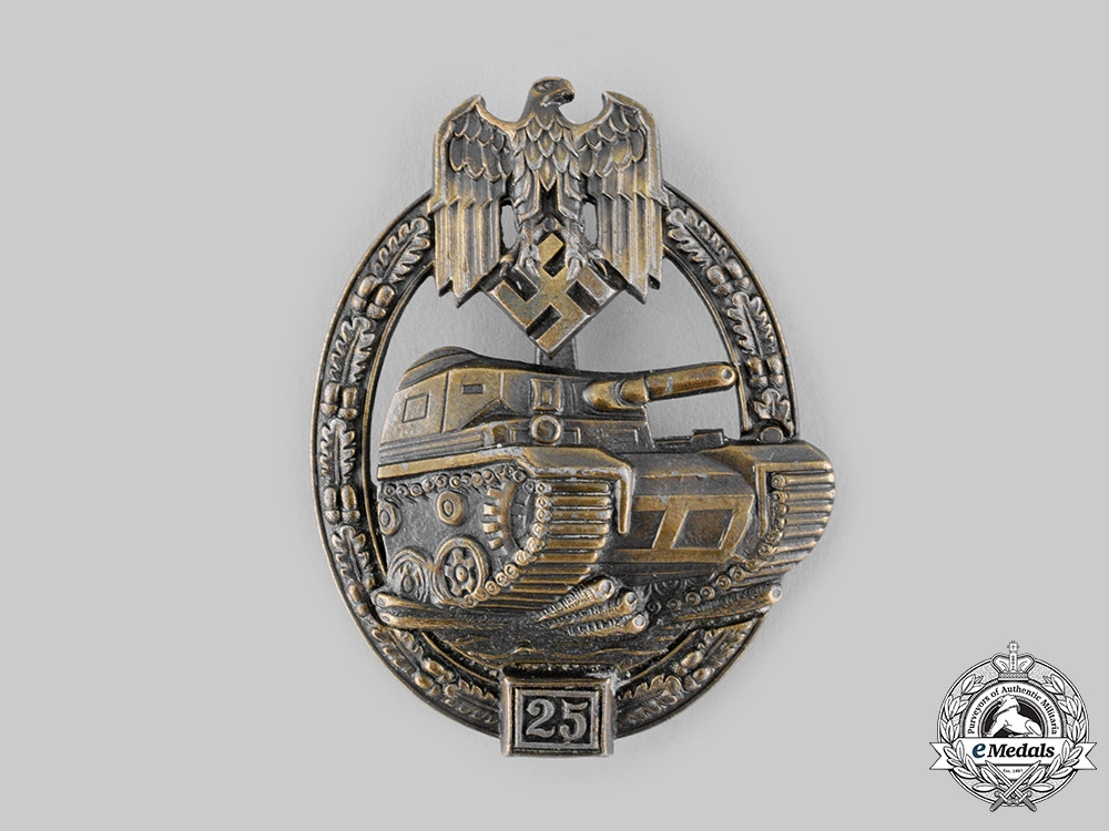 eMedals-Germany, Heer. A Special Grade Panzer Assault Badge, for 25 Engagements, by Josef Feix & Söhne