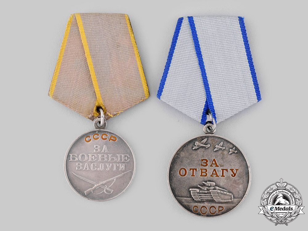 eMedals-Russia, Soviet Union. Two Medals for Bravery & Combat
