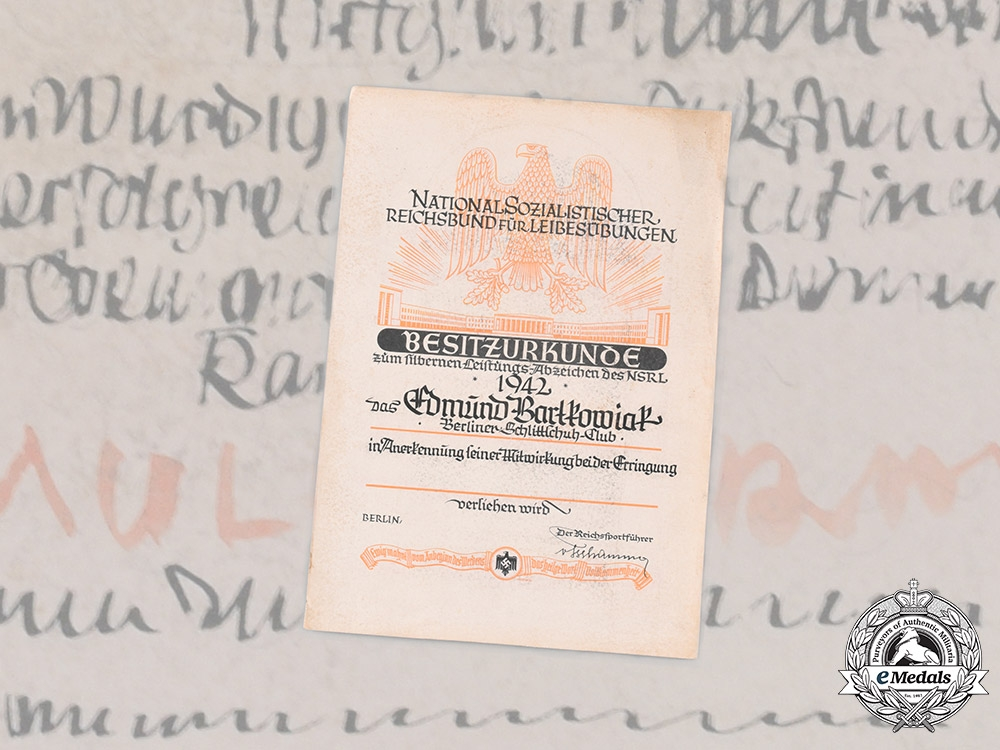 eMedals-Germany, NSRL. An Award Document for a NSRL Athletic Badge in Silver to Edmund Bartkowiak, Berliner Schlittschuhclub