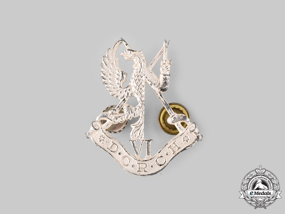eMedals-Canada, Dominion. A 6th Duke of Connaught's Royal Canadian Hussars Officer's Cap Badge