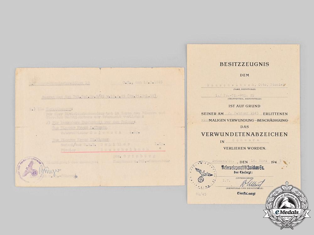 eMedals-Germany, Heer. A Pair of Award Documents, 1. Kompanie, Panzer-Pionier-Bataillon 29