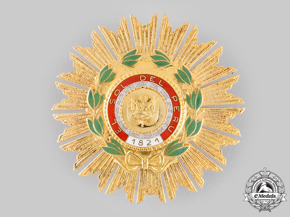 eMedals-Peru, Republic. An Order of the Peruvian Sun, Grand Cross Star with Diamonds, c.1980