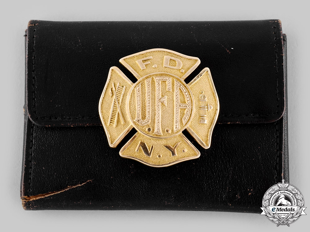 eMedals-United States. A Fireman's Association of NYC Gold Award Badge, 1933