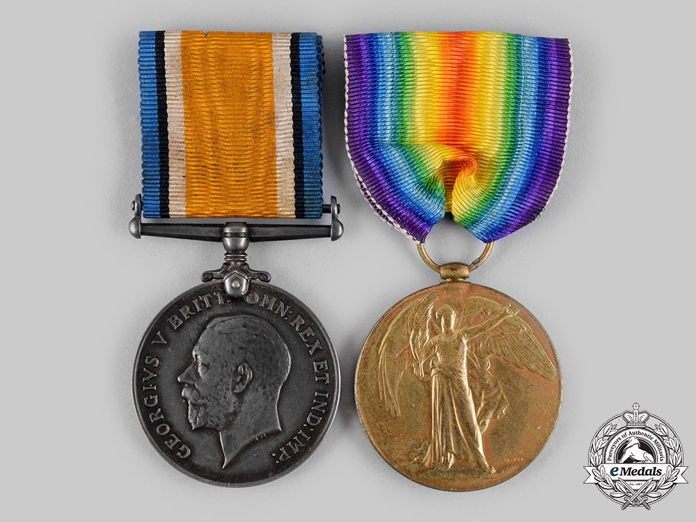 eMedals-Canada, CEF. A First War Pair, to Private Carson, 15th Battalion, Wounded at Battle of Vimy Ridge