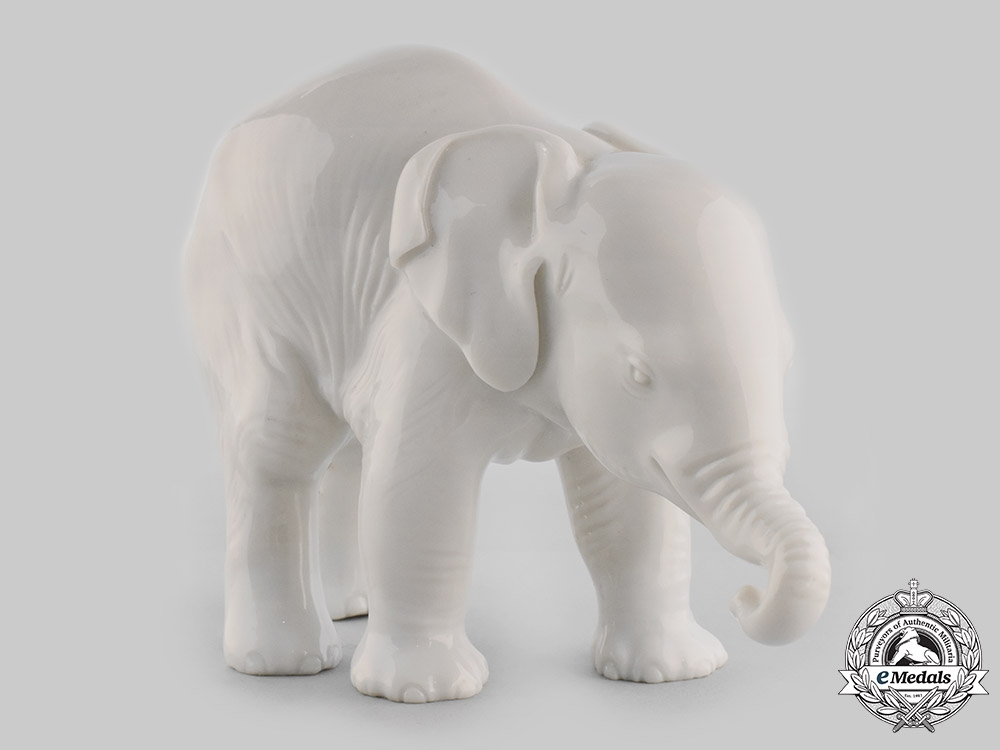 eMedals-Germany, SS. A SS-Allach Standing Elephant Figurine by Theodor Kärner