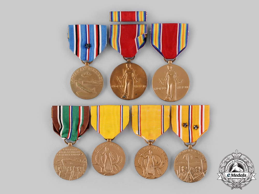 eMedals-United States. A Lot of Seven Second War Service Medals
