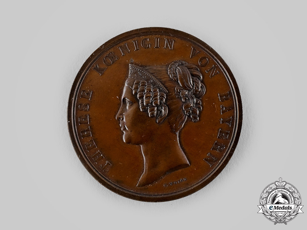 eMedals-Bavaria, Kingdom. A Queen Therese Commemorative Medallion by Carl Friedrich Voigt