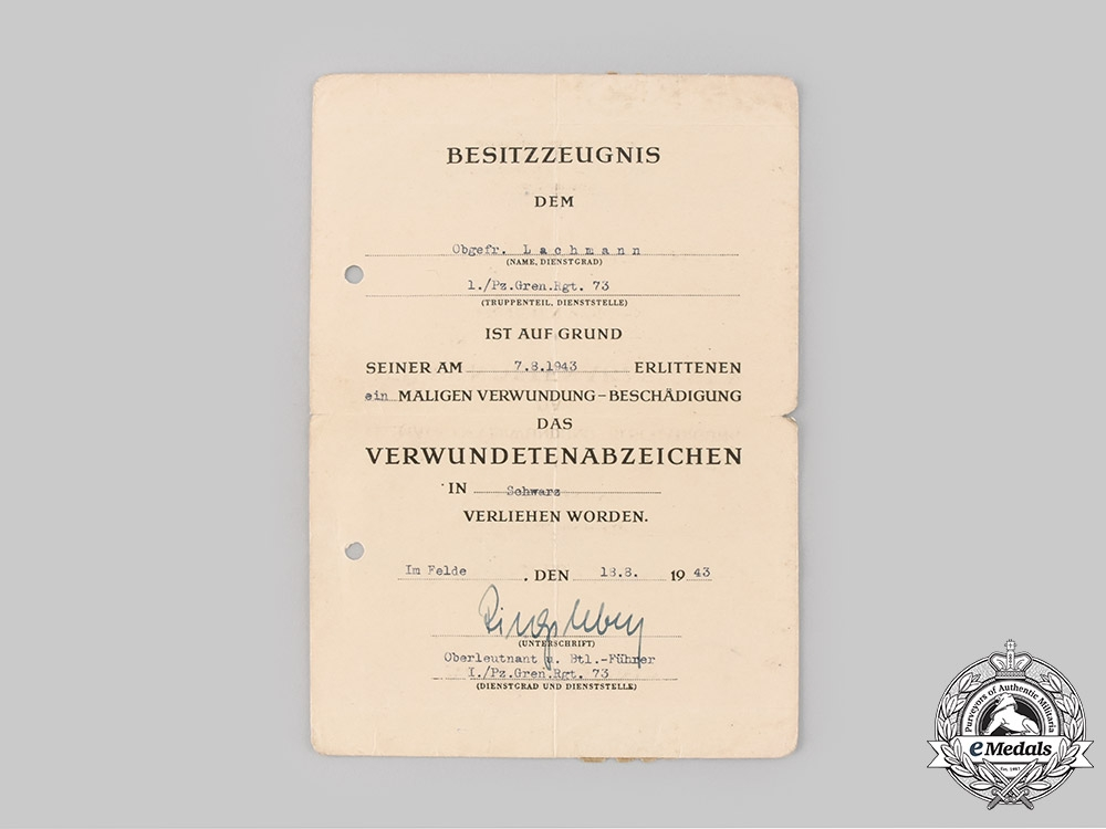 eMedals-Germany, Wehrmact. A Wound Badge Black Grade Document to Senior Lance Corporal Heinz Lachmann, 1943