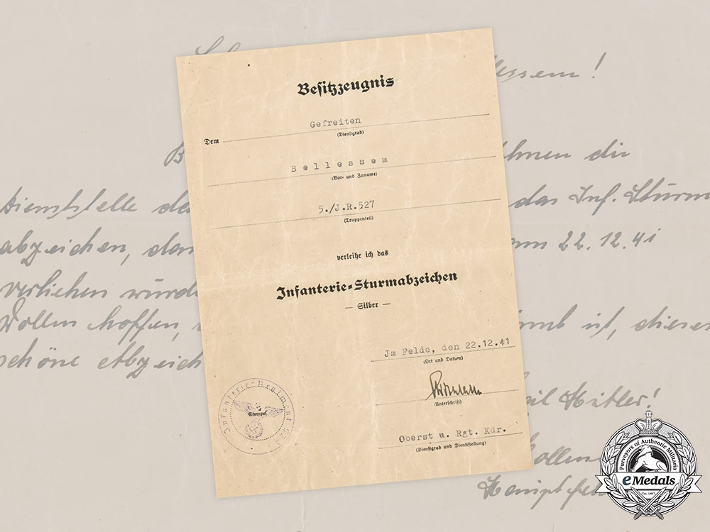 eMedals-Germany, Wehrmacht. A Pair of Documents, 5th Company of the Infantry Regiment 527
