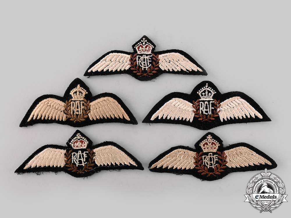 eMedals-Canada, United Kingdom. A Lot of Five King's Crown Air Force Pilot Badges