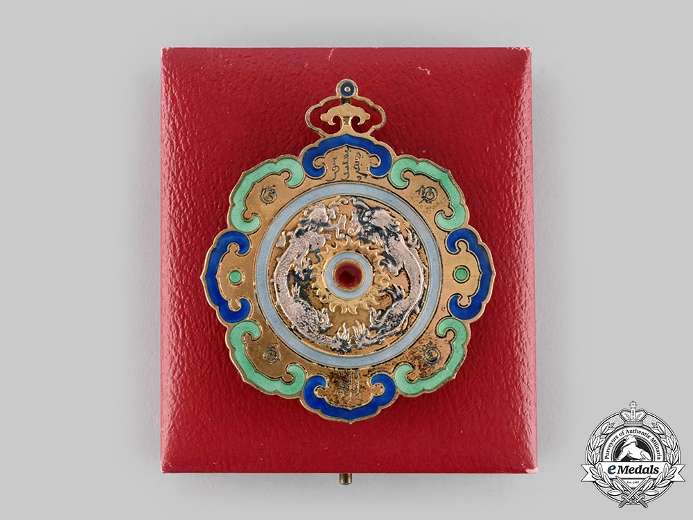 eMedals-China, Qing Dynasty. An Order of the Double Dragon, Type I, II Class, II Grade Neck Badge (Rothe Copy)