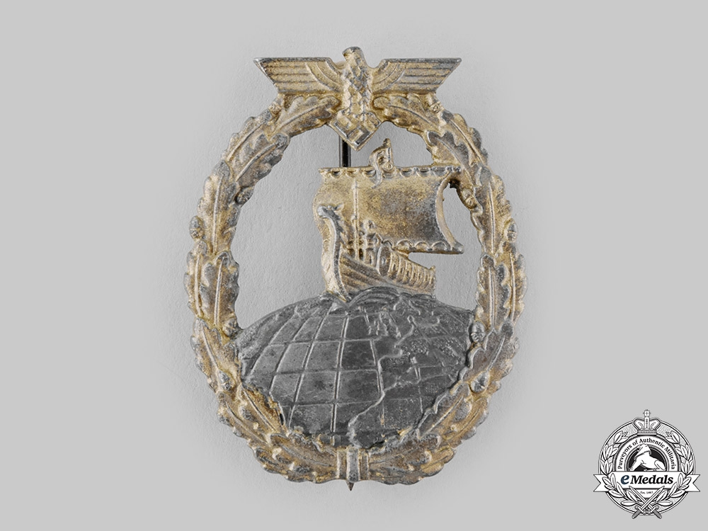 eMedals-Germany, Kriegsmarine. An Auxiliary Cruiser War Badge by Rudolf Souval
