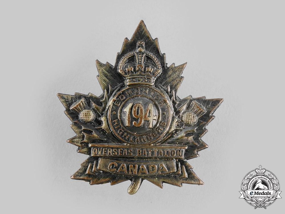 "eMedals-Canada, CEF A 194th Infantry Battalion ""Edmonton Highlanders"" Cap Badge, by Ash Bros, c.1916"