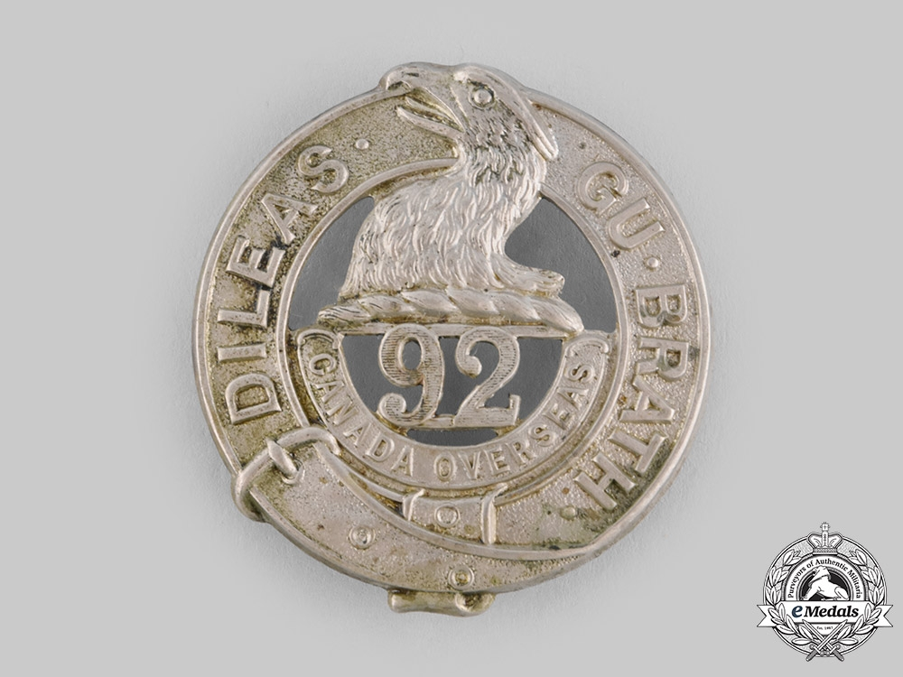 "eMedals-Canada, CEF A 92nd Infantry Battalion ""48th Highlanders"" Glengarry Badge, by Tiptaft, c.1915"
