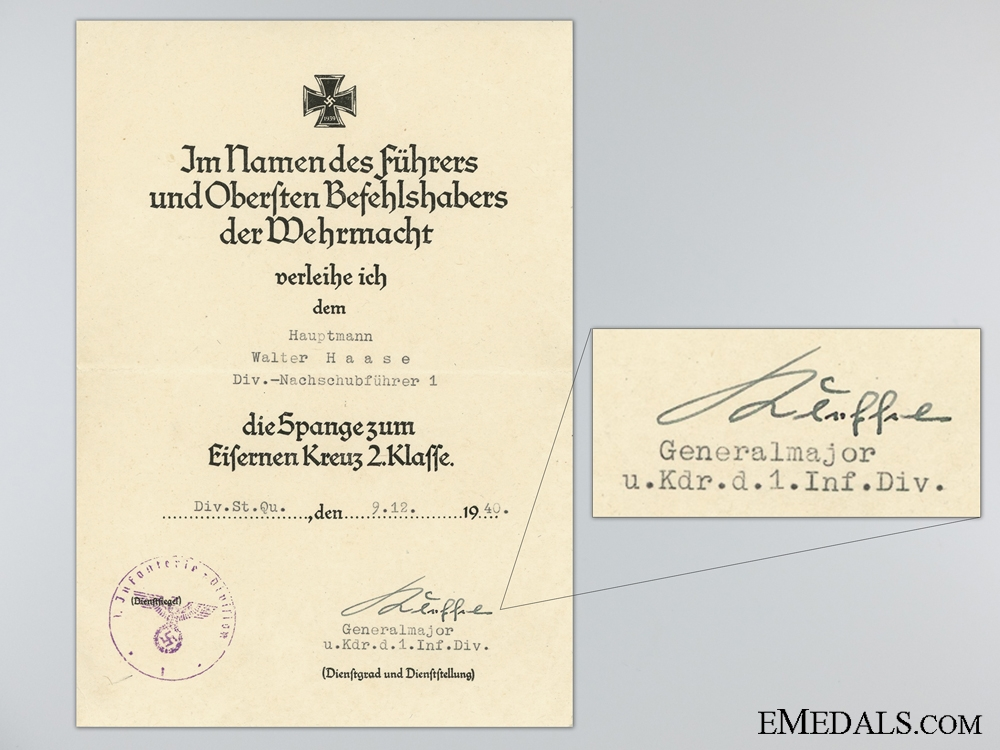 eMedals-Clasp to the Iron Cross Second Class 1939 Award Document