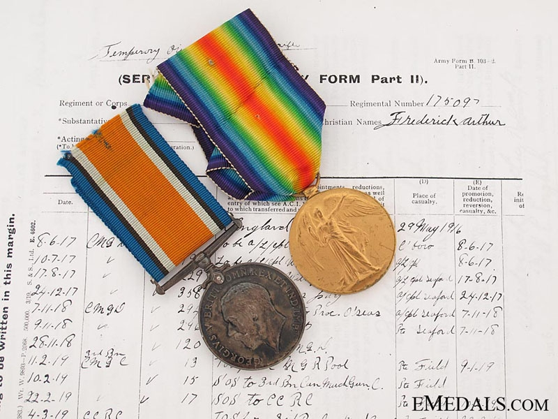 eMedals-First War Pair to the 3rd Battalion Canadian Machine Gun Corps
