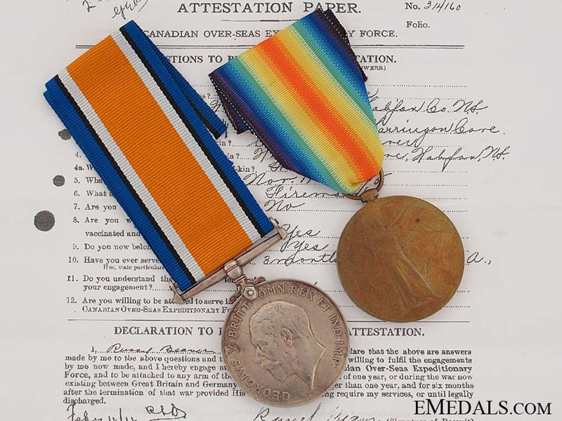 eMedals-WWI Pair, Driver R.L. Beaver, Canadian Field Artillery